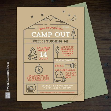 Camping Birthday Invitation Camp Out Party Invite Happy Camper Invitation Boy or Girl Sleepover Camp Party Under the Stars Outdoor Party