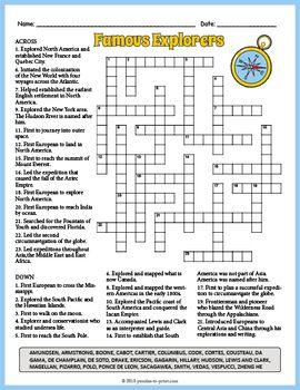 Famous World Explorers Crossword Puzzle Worksheet Activity Crossword Puzzle Crossword Printable Crossword Puzzles