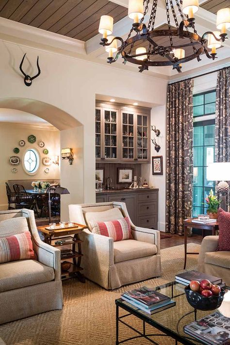 A collaboration of family and friends, this Alabama couple's second time building a home results in a relaxed Southern style perfect for gathering! Formal Living Rooms, Home Living Room, Living Area, Living Room Decor, Living Spaces, Built In Around Fireplace, English Decor, Elegant Homes, Living Room Inspiration
