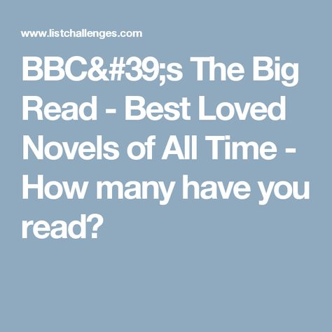 Bbc S The Big Read Best Loved Novels Of All Time The Big Read