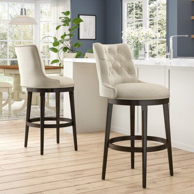 Darby Home Co Daniel Bar Counter Swivel Stool Wayfair Upholstered Bar Stools White Kitchen Bar Stools Stools For Kitchen Island