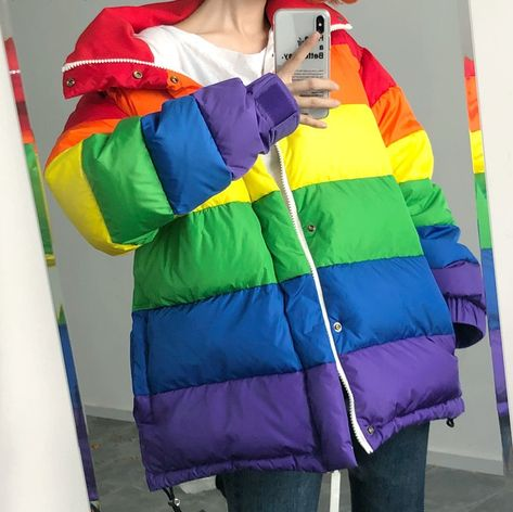 online shopping for Winter Jacket Women Rainbow Wadded Parka Plus Size Loose Striped Padded Coat from top store. See new offer for Winter Jacket Women Rainbow Wadded Parka Plus Size Loose Striped Padded Coat Pride Outfit, Rainbow Outfit, Rainbow Fashion, Rainbow Clothes, Doll Style, Kawaii Clothes, Winter Jackets Women, Padded Jacket, Soft Grunge
