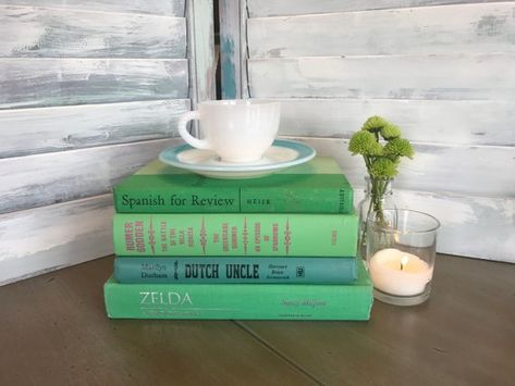 Decorative Books Vintage Books Green Books Book Decor Coffee