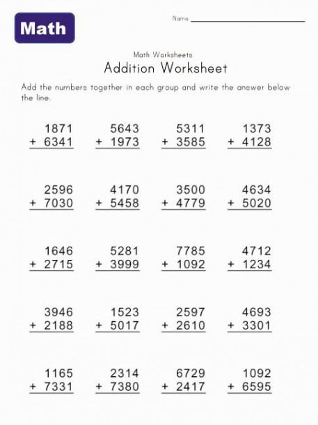 Math Worksheets Addition 4 Digits Math Addition Worksheets Math Worksheets Math Addition Addition worksheets to with pictures