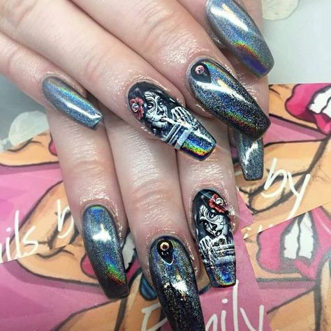 Black and white day of the dead water decal nail wraps