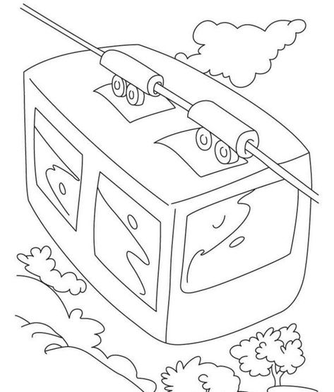 Free Cable Car Coloring Page Valentine Coloring Pages Cars
