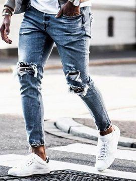 c8cf0a19b614 Herren Destroyed Jeans Slim Fit Skinny Stretch Denim Blau 20% Rabatt ...