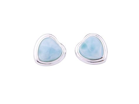 76ab8d8c3 Tuoke 925 Sterling Silver Larimar Stud Earrings Heart Shaped Natural Genuine  Blue Classic Fashion Handmade Larimar Gemstones Earrings for Women and Girls  ...