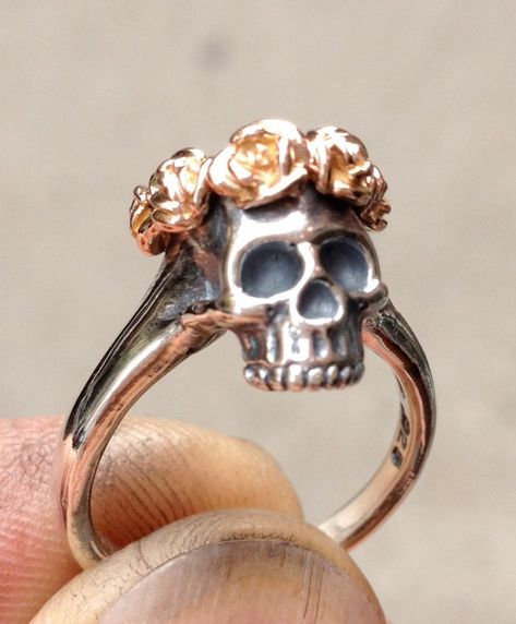 Skull w/ Rose Crown Sterling Silver Ring