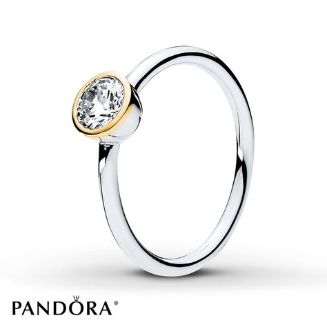 fbdf9a35b This delicate sterling silver ring from the PANDORA 2017 Mother's Day  collection is the ideal accompaniment to any two-tone look. The dazzling  center cubic ...