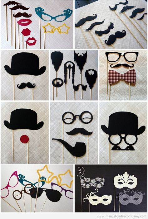 Bigotes, gafas y sombreros de goma eva con palitos para fiestas   Manualidades con Foamy   Fotos, vídeos, tutoriales e ideas para hacer manualidades con foamy para niños
