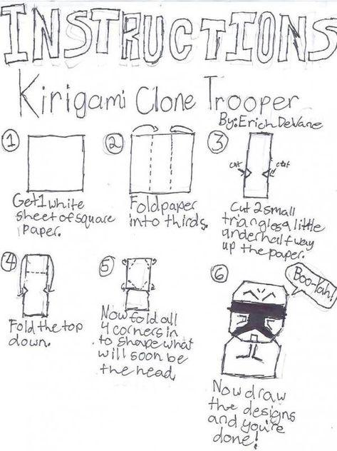 Easy Kirigami Clone Trooper Instructions
