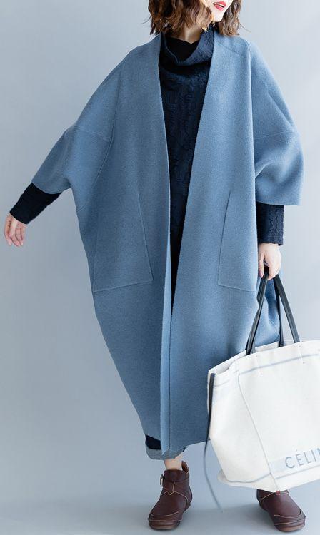 trendy plus size wild trench coat Elegant big pockets long coat