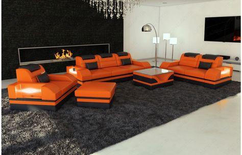 Fabulous  Design Leder Couchgarnitur PARMA mit LED Beleuchtung Exklusiv bei Sofa Dreams Leder Couchgarnitur PARMA LED Pinterest Parma