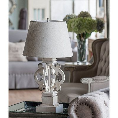 Ornate Scrolled Distressed Table Lamp White Table Lamp Distressed Table Table Lamp