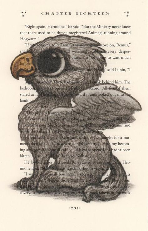 Upcycled Harry Potter page featuring an illustration of Baby Buckbeak. The image is printed directly on a Harry Potter book page which makes each print unique. -Pages measure about 5.5 x 9 inches -Art ships in a rigid cardboard mailer with the print in a sealable plastic bag to prevent water damage.