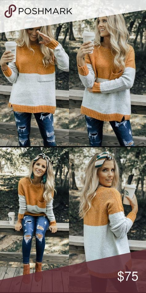 Color block Sweater Mustard and gray color block, crewneck sweater. Perfect with leggings and skinny jeans! Sweaters Crew & Scoop Necks
