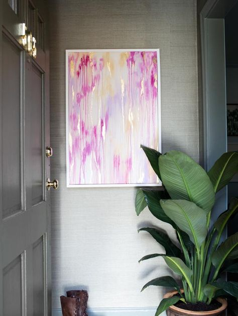 Drip art is commonly known for its use in grade school art classes. It's created by holding a canvas vertically, then dripping latex or acrylic paint randomly across the top. Another interpretation of this style is spray bottle art which involves applying paint directly to a canvas, then spraying it with a bottle of water to dilute the paint and cause it to drip downward.