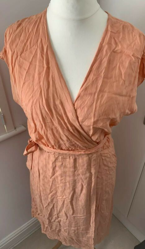 Ladies Peach Summer Wrap Dress Size 16 Bnwt In 2020 Size 16 Dresses Long Sleeve Summer Dress Sleeveless Dress Summer