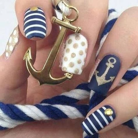 Navy White And Gold Nautical Nail Design With An Anchor