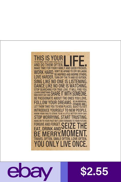 Motivational Inspirational Quote Art Silk Poster 18x29 inch This Is Your Life