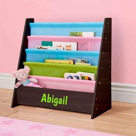 Personalized Dibsies Kids Bookshelf Espresso With Pastel Fabric Bookshelves Kids Bookshelves Personalized Toys