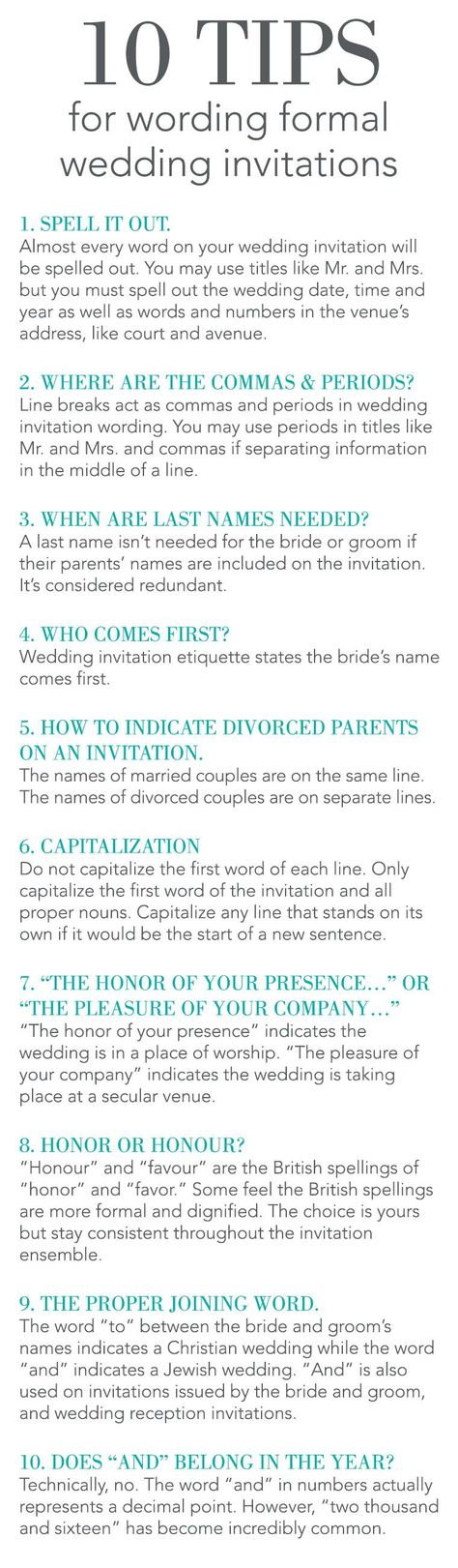 Hosting a formal wedding, but are uncertain how to word your wedding invitations? Check out these 10 Tips for Wording Formal Wedding Invitations on the Invitations By Dawn blog!