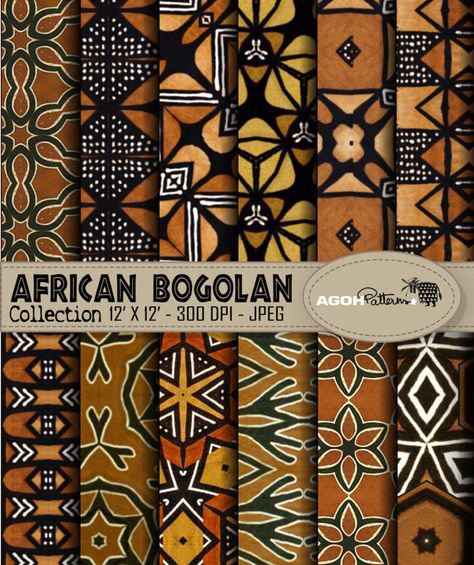 AFRICAN indigo Patterns pack of 12 - Africa - digital paper scrapbook - print Pack de 12 motifs Afri