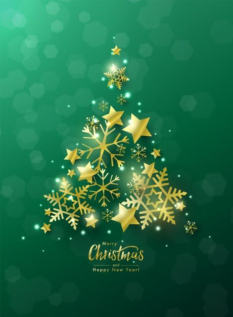 Christmas And New Year Greeting Card Decorated By Christmas Tree Made Of Golden Stars And Snowflakes Against Green Bokeh Background Merry Christmas Card Greetings Blue Holiday Cards Christmas Card Template