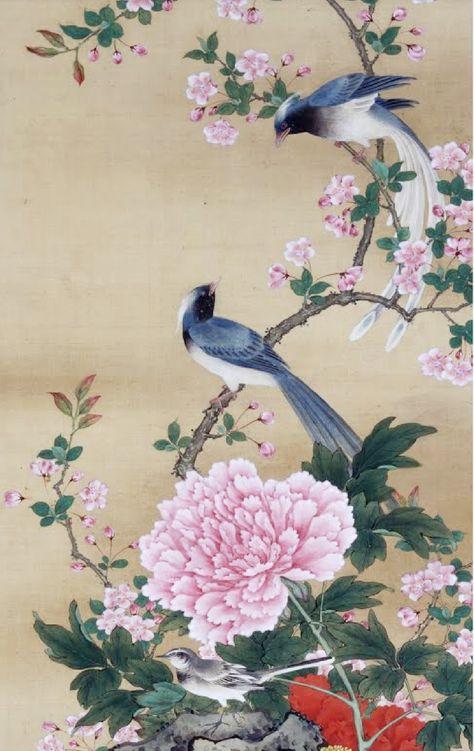 Detail Birds and Flowers. Edo Period Location: Japan Painter: Ichiga Oki Provenance: Tottori Prefectural Museum