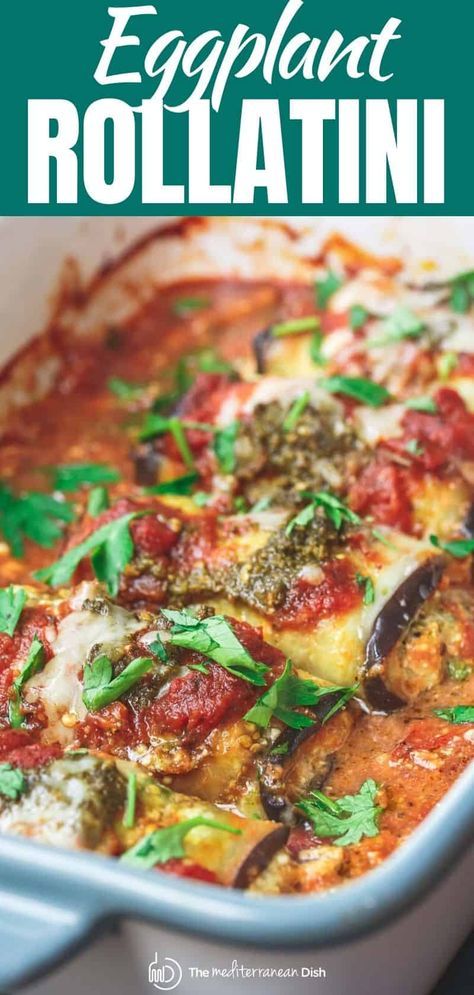 You'll love these eggplant rollatini made with a lightened up ricotta cheese mixture with parsley and basil pesto! Easy to make and you can make them ahead to freeze for later! #italianfood #italianrecipes #eggplant #eggplantcasserole #eggplantrollatini #rollatini #glutenfree #makeahead #mealprep #freezerfriendlydinner