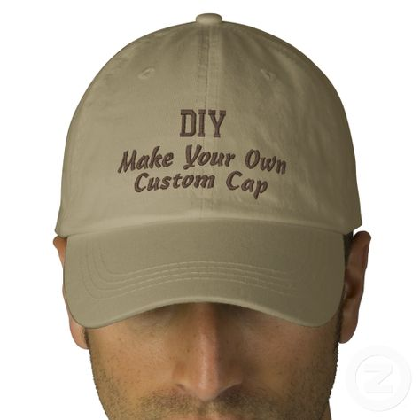 Diy Design Your Own Custom Baseball Hat V04 Zazzle Com Embroidered Hats Custom Baseball Hats Baseball Hats