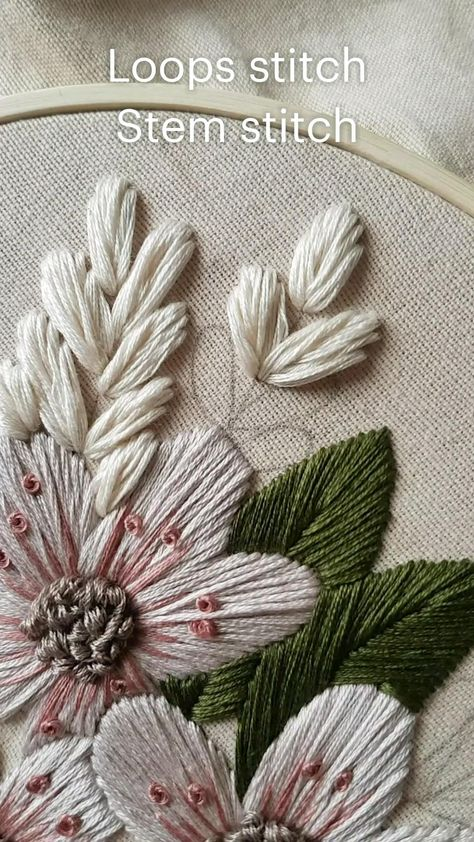 Loops stitch Stem stitch Hand embroidery