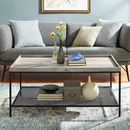 Manor Park Wood Coffee Table With Lower Metal Shelf Grey Wash Gray Furniture Table Living Room Lighting