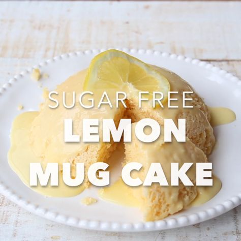 Big flavour, light texture: Try this easy sugar free lemon mug cake with a deliciously zingy lemon glaze. Low carb, gluten free and keto-friendly. #lowcarb #lowcarbrecipe #sugarfree #nosugar #sugarfreerecipe #keto #ketorecipe #dessert #cake #mugcake #glutenfree #lemon #almondflour #lchf #diabetic #microwave #grainfree #lemonmugcake
