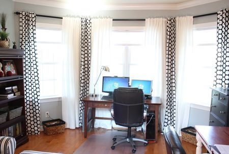bay window treatments pvc pipe for the curtain rods home office pinterest window pvc pipe and bay window treatments