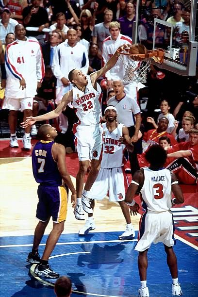 Tayshaun Prince Of The Detroit Pistons Dunks Over Brian Cook Of The In 2020 Detroit Pistons Kobe Bryant Pictures 2004 Nba Finals