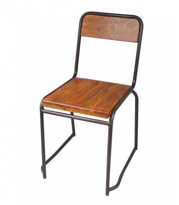 Chaise Industrielle Bois Et Metal Style Vintage Metal Wood