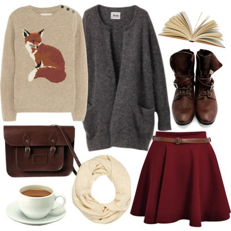 A whole collection of wonderful things--red skirt, coffee, fox sweater, book, scarf.