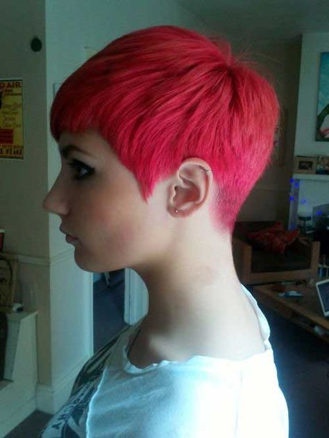 22. Pixie Cut Style The collar for me od6  The color for me is hot I love Hot Reds like that