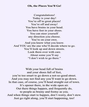 Dr Seuss Oh The Places You Ll Go Part I This Is One Of My Favorite Poems By Dr Seuss The Places Youll Go Oh The Places You Ll Go Poems