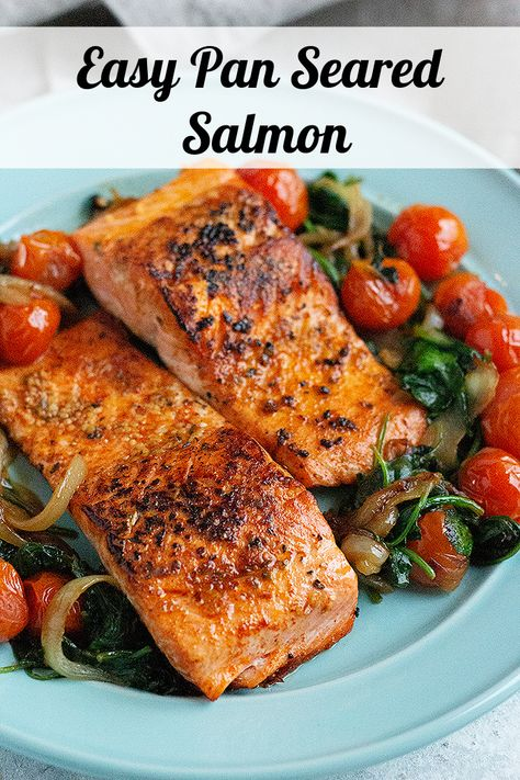 Everything you need to know about pan seared salmon with skin. An easy and healthy way to make salmon at home for a quick weeknight dinner. From what salmon to use to a fool proof tutorial on how to sear salmon fillet that's crispy. Watch the step-by-step video tutorial to learn how to make the best seared salmon that's crispy on the outside and juicy on the inside.#salmonrecipe #pansearedsalmon #salmondinner #dinnerideas #dinnerrecipes