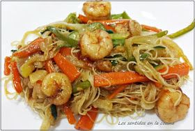 Los Sentidos En La Cocina Fideos Fritos Chinos Con Gambas Comida Thai Recetas Recetas Con Fideos Fideos Chinos Receta