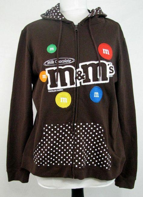 M/&M/'s Zip up Ladies Fleece Hoodie Sweatshirt Brown
