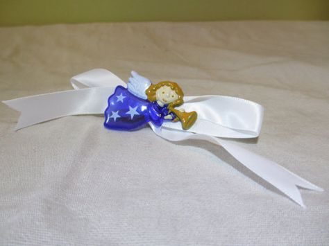 Blue Angel with White Bow Barrette