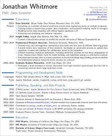 Resume Examples Data Science Data Scientist Resume Examples Sample Resume Templates