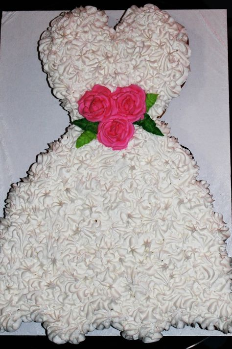 Great cake for bridal shower...Wedding Dress cupcake cake.