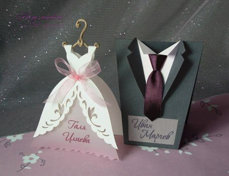 MADE TO ORDER WARNING !!! THE PRICE IS ONLY FOR ONE PLACE CARD - BRIDAL GOWN OR GROOM SUIT DESIGNER STYLE CODE: WA-17-1 (BRIDAL GOWN) DESIGNER STYLE CODE: WA-17-2 (GROOM SUIT) Surprise your friends and relatives to your wedding with one of those beautiful handcrafted table cards. You can pick either bride or groom cards or a combination of both. ♦ Materials used: The place cards is made of a luxury or a pearl cardboard and represents a Wedding Dress on a hanger or a groom suit. ♦ Decoration