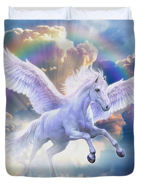 Rainbow Pegasus Duvet Cover by Jan Patrik Krasny. Available in king, queen…