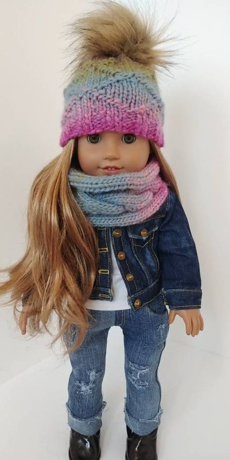 2 Piece Crocheted Matching Winter Slouch Hat and Sweater Vest Multi Toned Purple 18 Doll American Girl